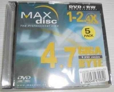 MAXdisc DVD+RW Rohling 4,7GB inkl. slimcase